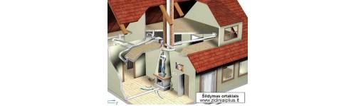 Šildymo ortakiais sistema iš židinio